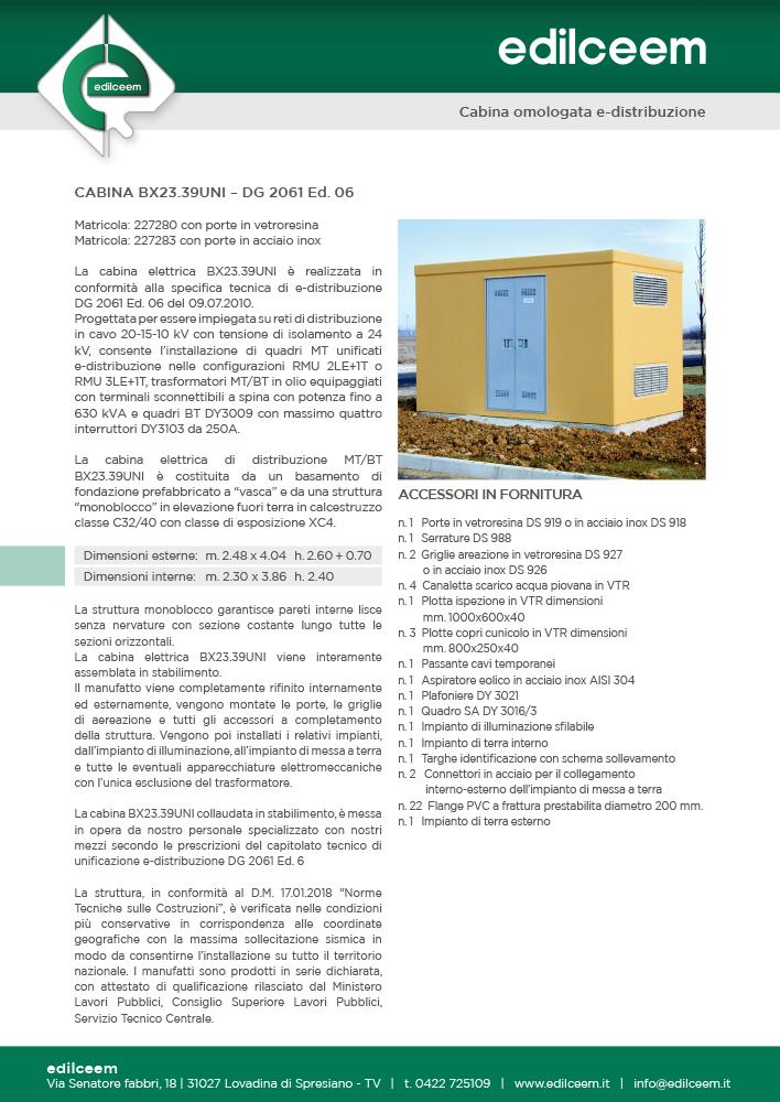 Cabine elettriche Enel DG2061 Ed.6 | Scheda Edilceem