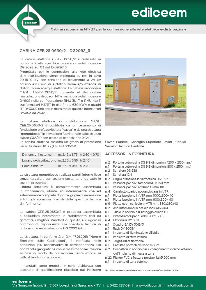 Cabine elettriche Enel DG2092 | Scheda Edilceem