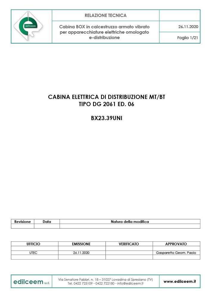 Cabine elettriche Enel DG2061 Ed.6 | Relazione Tecnica Edilceem