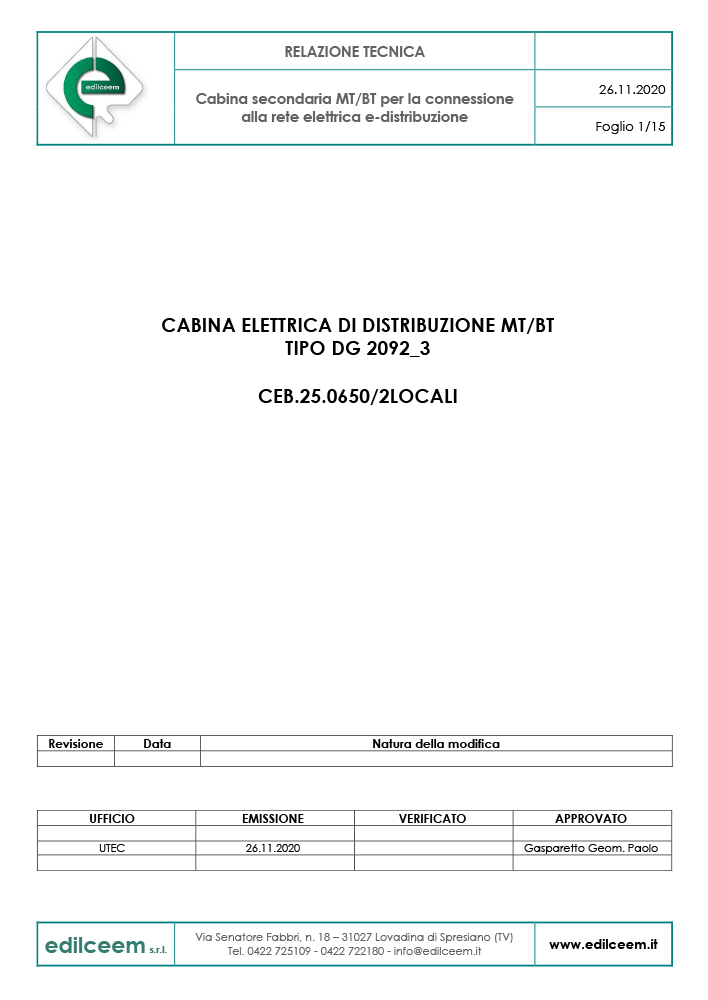 Cabine elettriche Enel DG2092 | relazione tecnica Edilceem