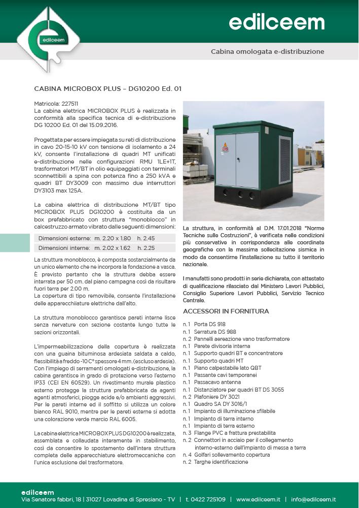Cabine elettriche Enel DG10200 Ed.1 | Scheda tecnica Edilceem